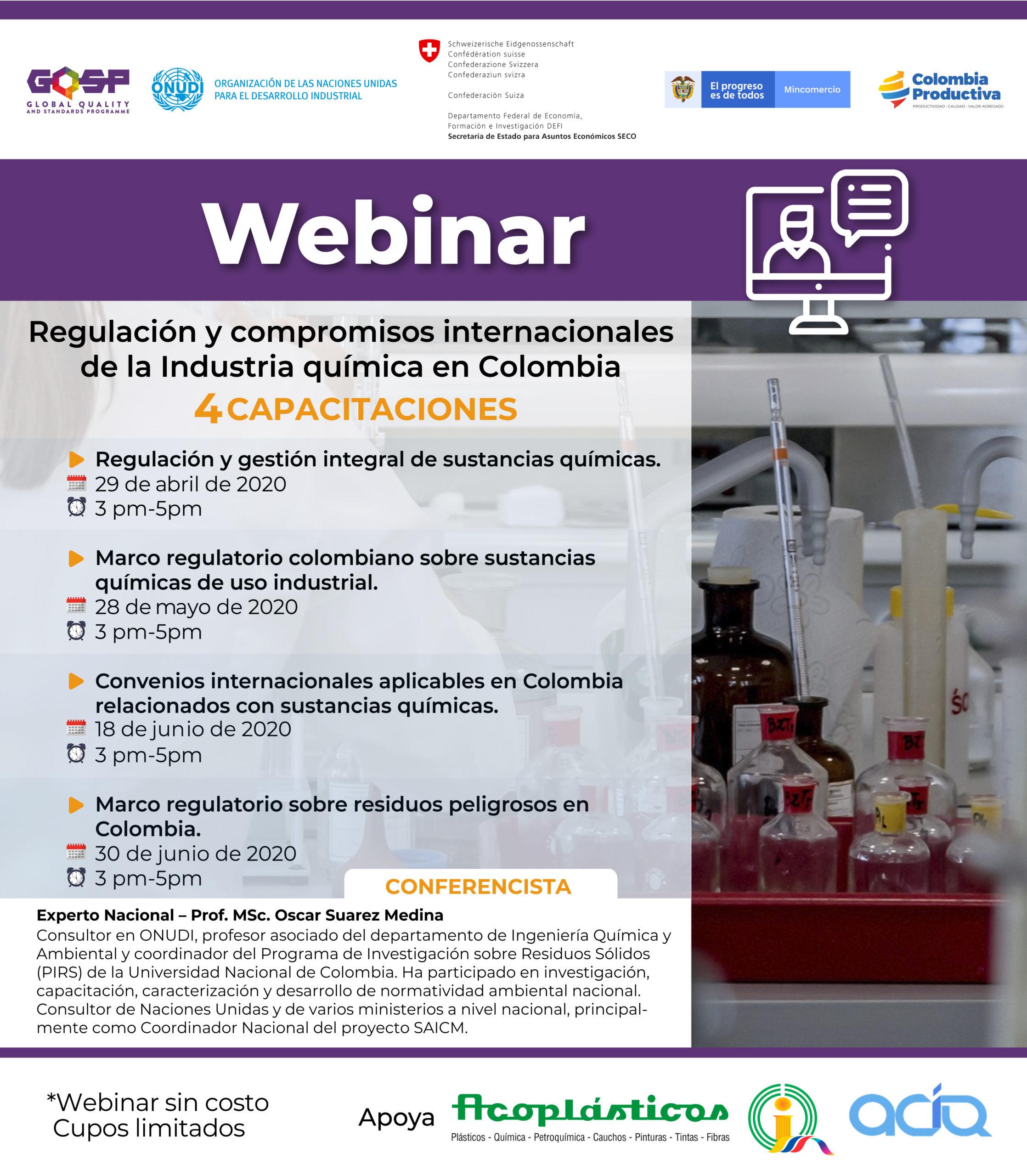 Conozca la regulación y los compromisos internacionales de la industria química en Colombia, en esta serie de cuatro webinars gratuitos. ...